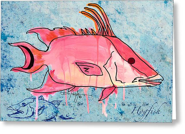 Snapper Paintings Greeting Cards - Hogfish Greeting Card by William Depaula