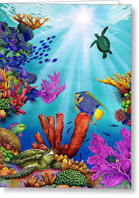 Exotic Fish Greeting Cards - High Noon Greeting Card by Carolyn Steele