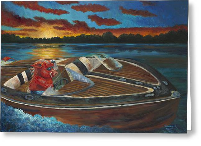 Arkansas Paintings Greeting Cards - Hogn the Lake Greeting Card by Shawna Elliott