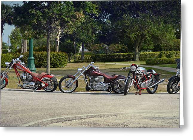 Red Hog Greeting Cards - Hogs And Choppers Greeting Card by Laura  Fasulo