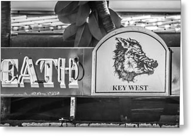 Saloons Greeting Cards - Hogs Breath Saloon 1 Key West - Black and White Greeting Card by Ian Monk