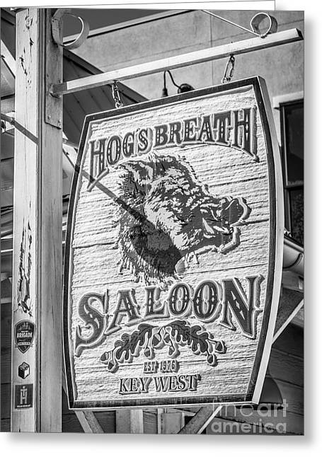 Saloons Greeting Cards - Hogs Breath Saloon 2 Key West - Black and White Greeting Card by Ian Monk