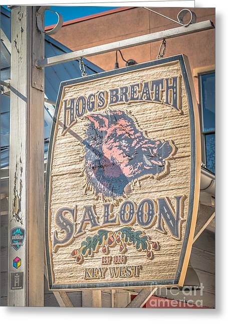 Saloons Greeting Cards - Hogs Breath Saloon 2 Key West - HDR Style Greeting Card by Ian Monk