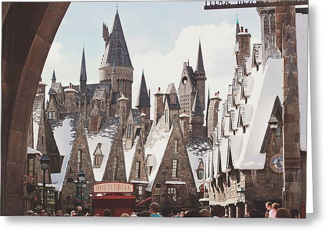 Hogwarts Greeting Cards - Hogsmeade Greeting Card by Jessie Gould