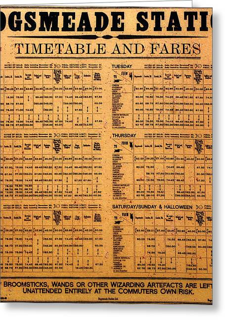 Hogsmeade Station Timetable Greeting Card by David Lee Thompson