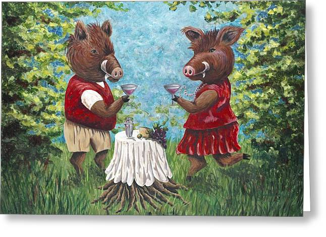 Hog Fan Greeting Cards - Hogtails in the Woods Greeting Card by Shawna Elliott
