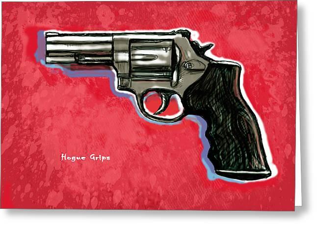 Hogue Grips Hang Gun - Stylised Art Drawing Sketch Greeting Card by Kim Wang
