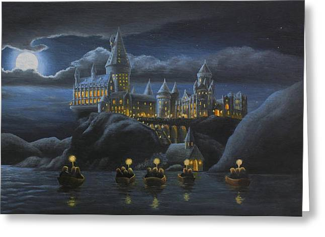 Wizard Greeting Cards - Hogwarts at Night Greeting Card by Karen Coombes