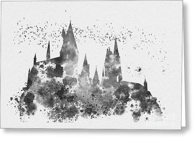 Purchase Art Greeting Cards - Hogwarts Black and White Greeting Card by Rebecca Jenkins