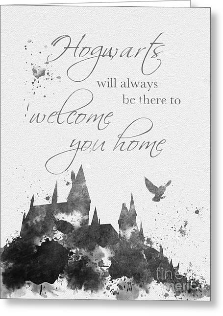 Purchase Greeting Cards - Hogwarts Quote Black and White Greeting Card by Rebecca Jenkins
