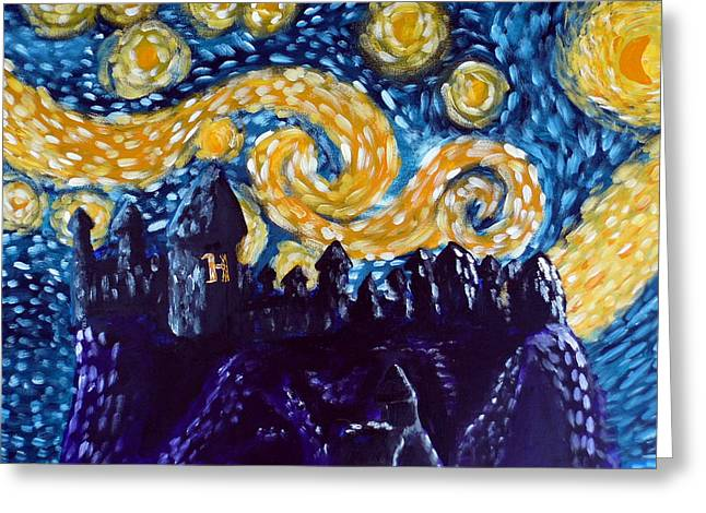 Fandom Greeting Cards - Hogwarts Starry Night Greeting Card by Jera Sky