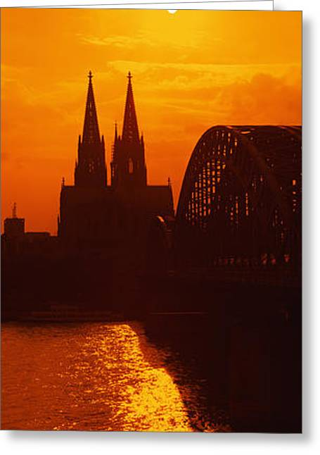 Cloud Reflections In Water Greeting Cards - Hohenzollern Bridge, Cologne, Germany Greeting Card by Panoramic Images