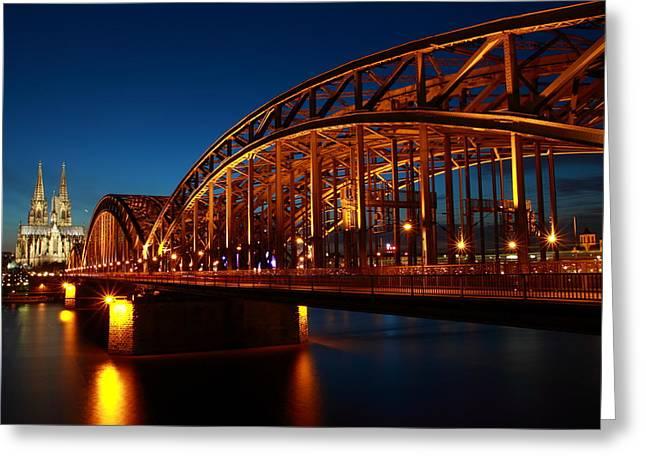 Starburst. Night Prints Greeting Cards - Hohenzollern Bridge Greeting Card by Mihai Andritoiu