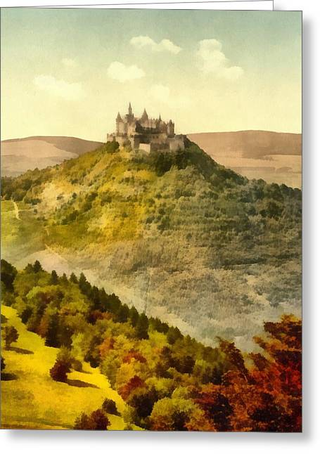 Europe Mixed Media Greeting Cards - Hohenzollern Germany Castle Greeting Card by Dan Sproul