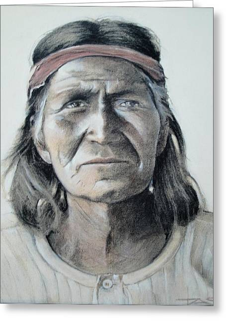 Native American Spirit Portrait Drawings Greeting Cards - Hohoni Greeting Card by Terri Ana Stokes