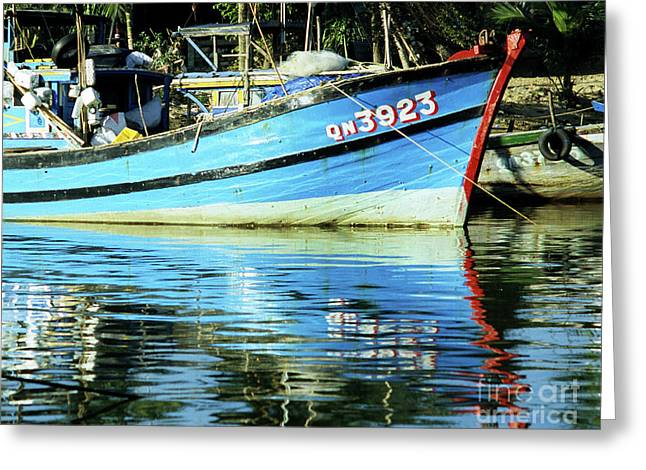 Reflecting Water Greeting Cards - Hoi An Fishing Boat 01 Greeting Card by Rick Piper Photography