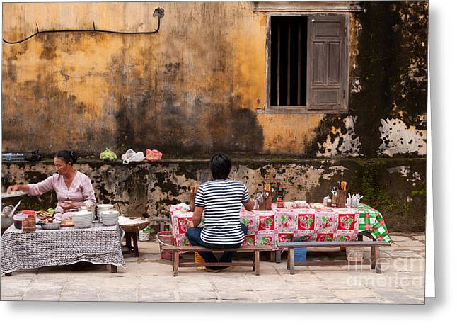 Noodles Greeting Cards - Hoi An Noodle Stall 03 Greeting Card by Rick Piper Photography
