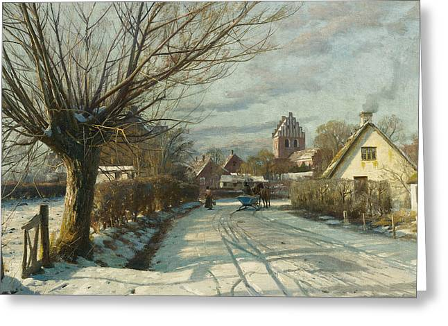 Hoje Taastrup Church Outside Copenhagen Greeting Card by Peder Monsted
