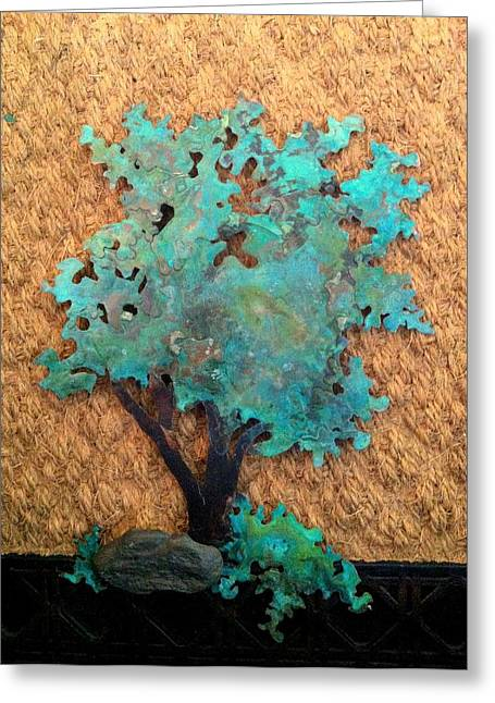 Asian Sculptures Greeting Cards - Hokkidachi Copper Bonsai Greeting Card by Vanessa Williams