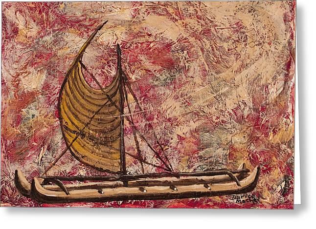 Canoe Mixed Media Greeting Cards - Hokulea Greeting Card by Darice Machel McGuire
