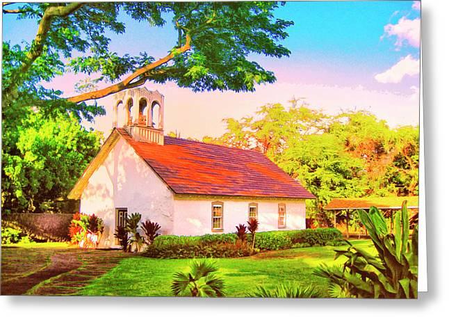 Lahaina Mixed Media Greeting Cards - Hokuloa Church at Puako Greeting Card by Dominic Piperata