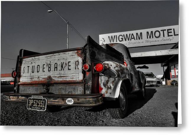 Pickup Greeting Cards - Holbrook AZ - Wigwam Motel 006 Greeting Card by Lance Vaughn