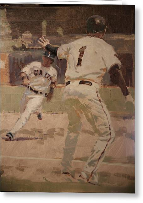 Baseball Paintings Greeting Cards - Hold At Third Greeting Card by Darren Kerr