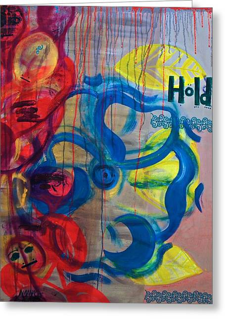 Vodou Paintings Greeting Cards - Hold Me // Kembe M Greeting Card by Amanacer Originals