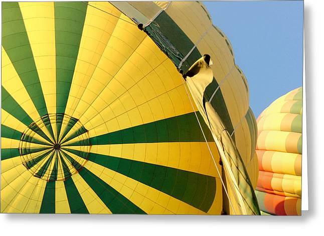 Balloon Aircraft Greeting Cards - Hold on tight.. Greeting Card by A Rey
