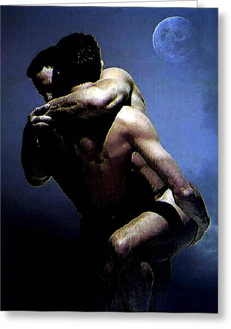 Nude Gay Couple Art Greeting Cards - Hold On Greeting Card by Troy Caperton