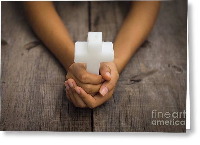 Holding A Religious Cross Greeting Card by Aged Pixel