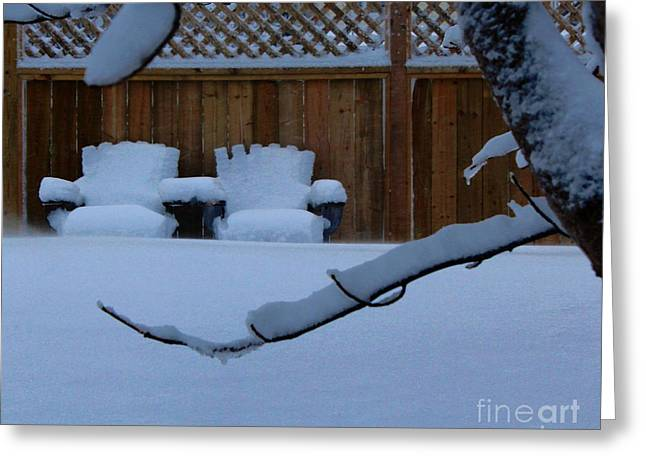 Lawn Chair Greeting Cards - Holding Arms - Snow - Waiting for Summer Greeting Card by Barbara Griffin