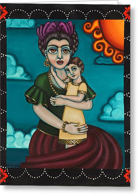 Hispanic Artists Greeting Cards - Holding Diegito Greeting Card by Victoria De Almeida