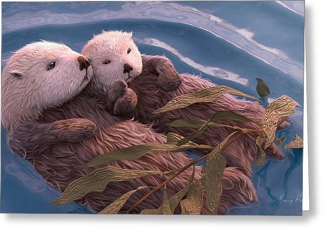Ocean Mammals Greeting Cards - Holding Hands Greeting Card by Gary Hanna
