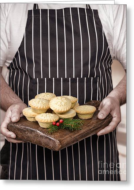 Apron Photographs Greeting Cards - Holding Mince Pies Greeting Card by Amanda And Christopher Elwell
