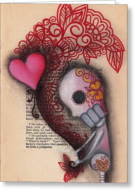 Pop Surrealism Paintings Greeting Cards - Holding On Greeting Card by  Abril Andrade Griffith