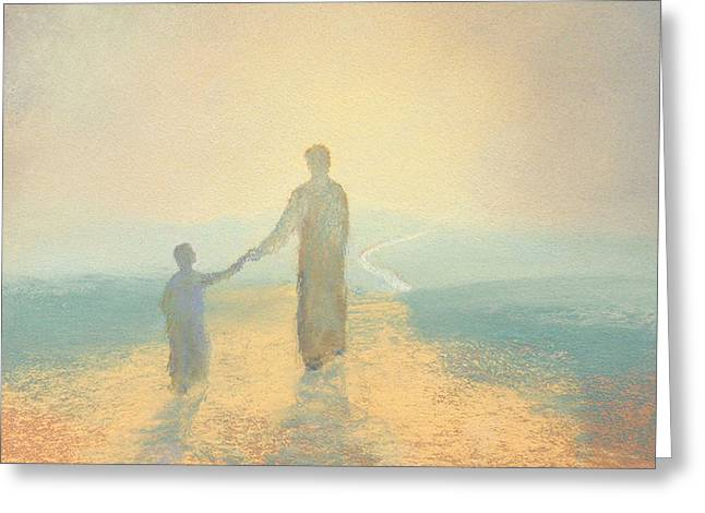 Christ Pastels Greeting Cards - Holding On Greeting Card by James R C Martin
