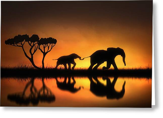 Elephants Digital Art Greeting Cards - Holding On Greeting Card by Jennifer Woodward