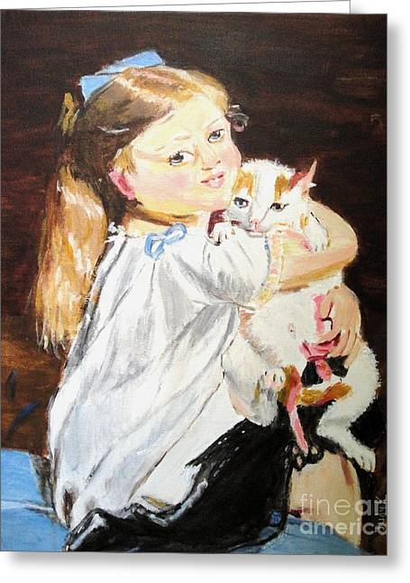 Figurative Art Greeting Cards - Holding On Greeting Card by Judy Kay