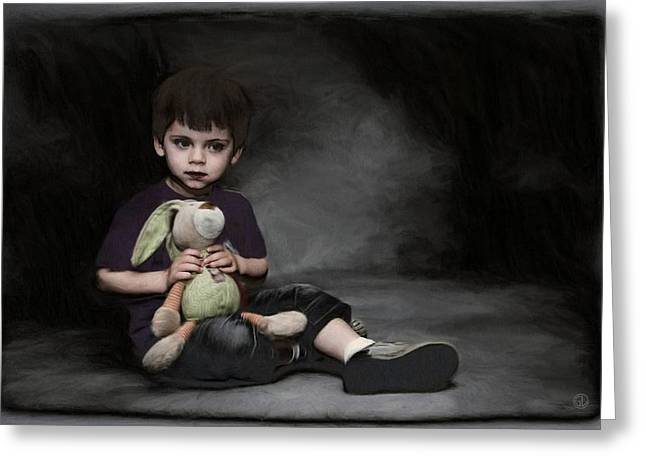 Little Boy Digital Greeting Cards - Holding on to safety Greeting Card by Gun Legler