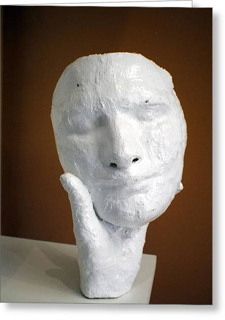 Face Sculptures Greeting Cards - Holding onto his facade Greeting Card by Meganne Peck