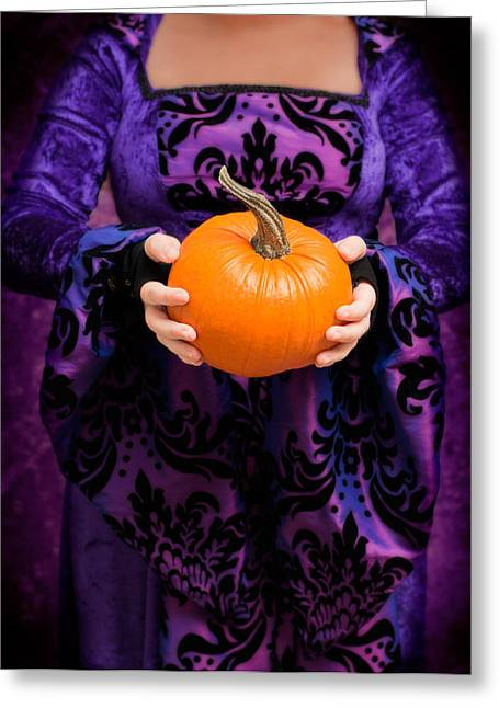 Tricks Greeting Cards - Holding Pumpkin Greeting Card by Amanda And Christopher Elwell