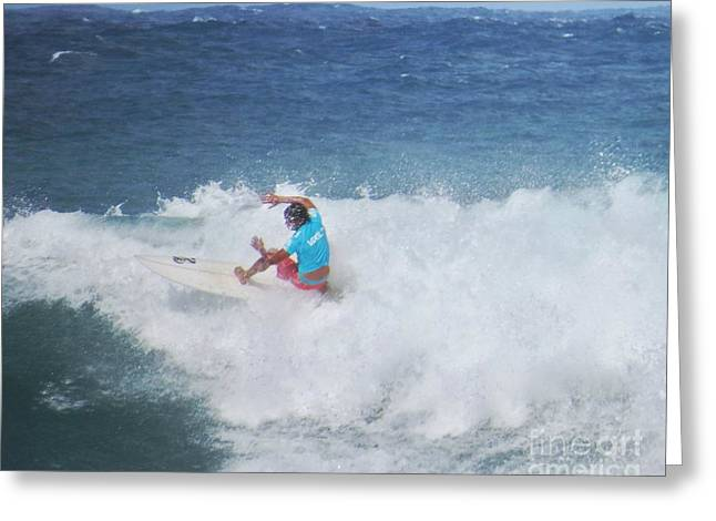 Surfing Photos Greeting Cards - Holding the Line Greeting Card by Scott Cameron