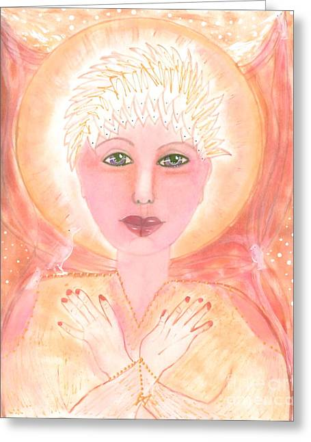 Sacred Space Greeting Cards - Holding The Sacred Space Greeting Card by Nancy TeWinkel Lauren