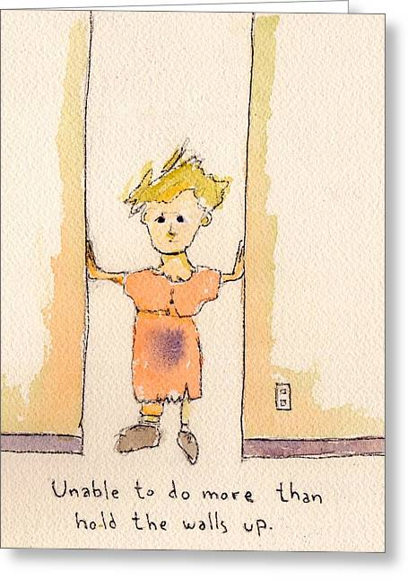 Midlife Mixed Media Greeting Cards - Holding The Walls Greeting Card by Glen Martin Taylor