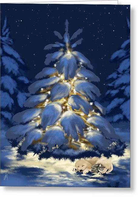 Christmas Art Greeting Cards - Holding together Greeting Card by Veronica Minozzi