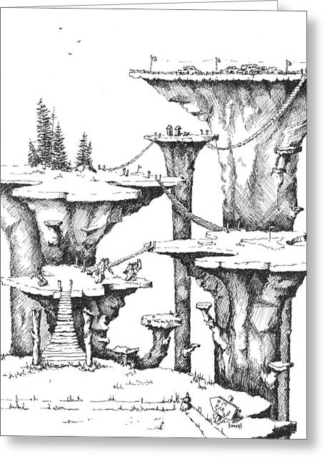 Golf Drawings Greeting Cards - Hole 17 Greeting Card by Sam Sidders