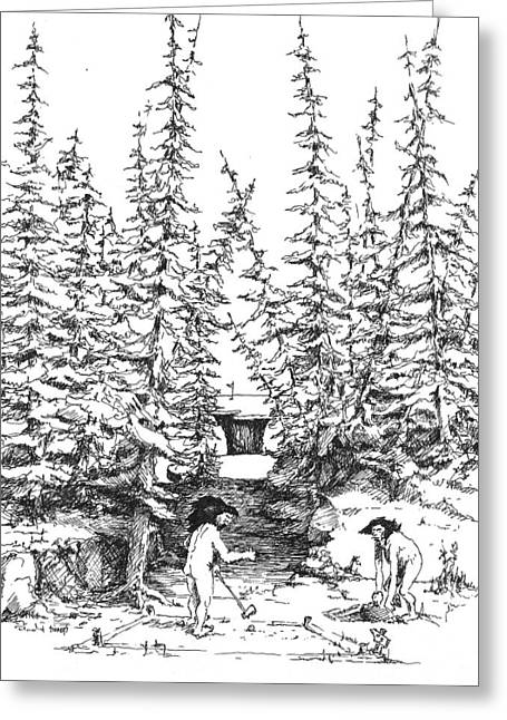 Golf Drawings Greeting Cards - Hole 3 Greeting Card by Sam Sidders