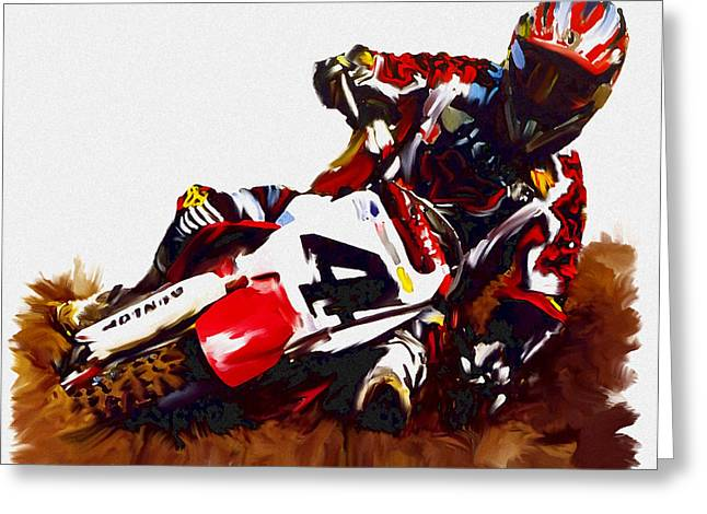 Smart Phone Greeting Cards - Hole Shot Ricky Carmichael Greeting Card by Iconic Images Art Gallery David Pucciarelli