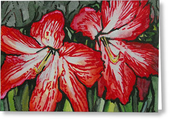 Cheer On Paintings Greeting Cards - Holiday Amaryllis Greeting Card by Lindi Levison